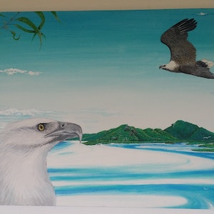 (CreativeWork) White chested sea eagles over Whitehaven beach... by nui hamon. arcylic-painting. Shop online at Bluethumb.