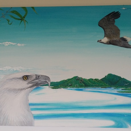 (CreativeWork) White chested sea eagles over Whitehaven beach... by nui hamon. Acrylic Paint. Shop online at Bluethumb.