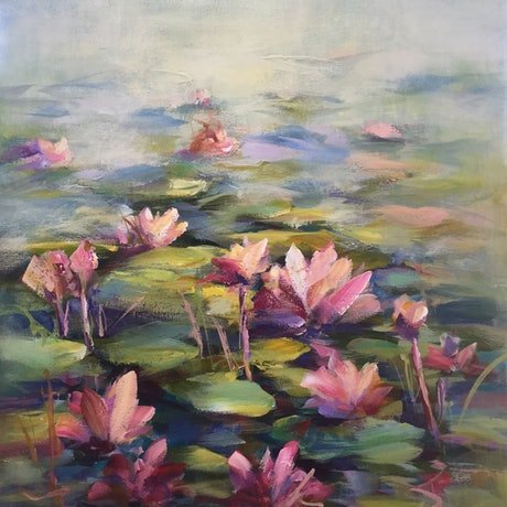 (CreativeWork) Waterlillies (FRAMED) by Ivana Pinaffo. Acrylic Paint. Shop online at Bluethumb.