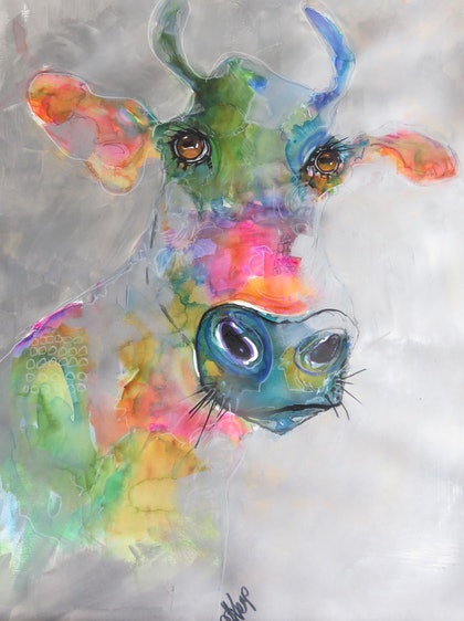 (CreativeWork) Pretty Cow #2 - Copy by Leanne Kremp. mixed-media. Shop online at Bluethumb.