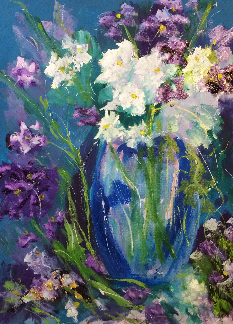The Flowers of Summer in a Blue Vase by Margaret Morgan ...