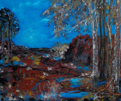 """(CreativeWork) """" Waterhole in a  Dry  Land """" by Catherine Walker. Acrylic Paint. Shop online at Bluethumb."""