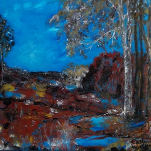 (CreativeWork)  Waterhole in a  Dry  Land   by Catherine Walker. arcylic-painting. Shop online at Bluethumb.