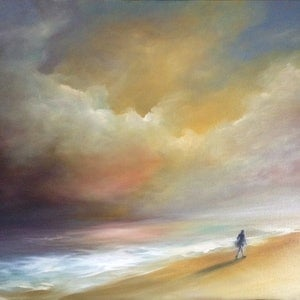 (CreativeWork) Finding the Horizon by Kathryn Johnston. oil-painting. Shop online at Bluethumb.