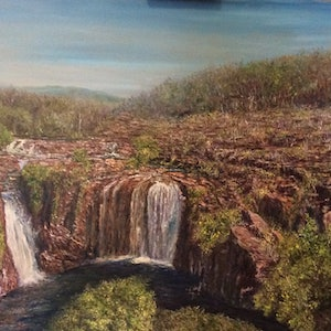 (CreativeWork) Florence Falls Northern Territory by Henry Wood. oil-painting. Shop online at Bluethumb.
