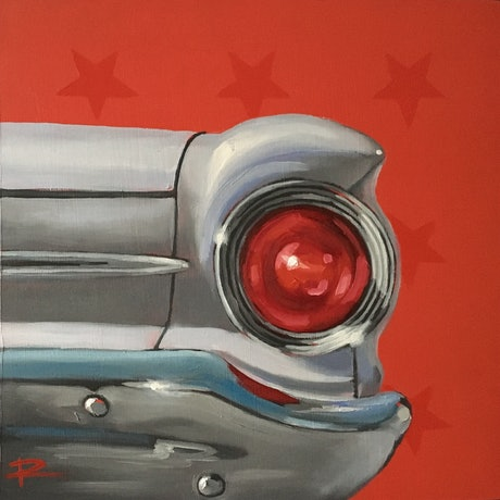 (CreativeWork) STAR II feat. 1963 Ford Falcon Futura (White) by Rosa Fedele. Oil Paint. Shop online at Bluethumb.