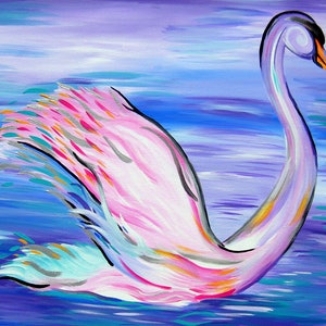 (CreativeWork) Whimsical Swan by Cathy Jacobs. arcylic-painting. Shop online at Bluethumb.