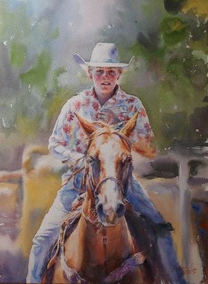 (CreativeWork) Cowgirl by Richard(Tiejun) Chao. Watercolour Paint. Shop online at Bluethumb.