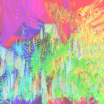(CreativeWork) Technicolour Glitchscape  by Vanessa Bertagnole. photograph. Shop online at Bluethumb.