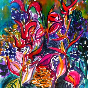 (CreativeWork) Into the Secret Garden by valarie ross. watercolour. Shop online at Bluethumb.