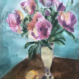 (CreativeWork) Peonies by Chantal Morgan. watercolour. Shop online at Bluethumb.