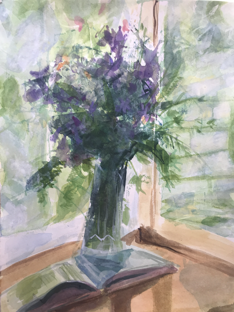 (CreativeWork) Violet Coloured Flowers by Chantal Morgan. watercolour. Shop online at Bluethumb.