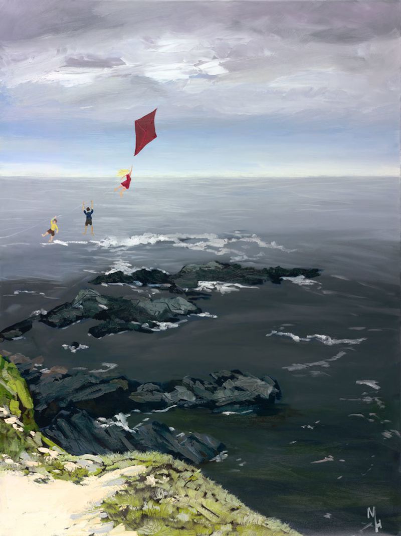 (CreativeWork) Fly a Kite with me. by Meredith Howse. oil-painting. Shop online at Bluethumb.