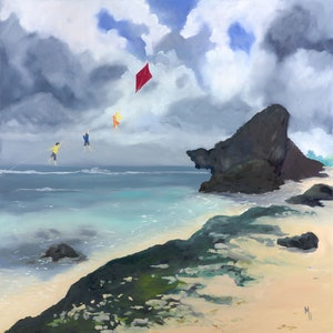 (CreativeWork) Grand Kite Adventure by Meredith Howse. oil-painting. Shop online at Bluethumb.