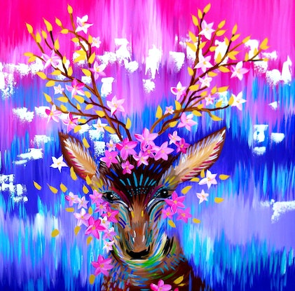 (CreativeWork) Earth Deer by Cathy Jacobs. Acrylic Paint. Shop online at Bluethumb.