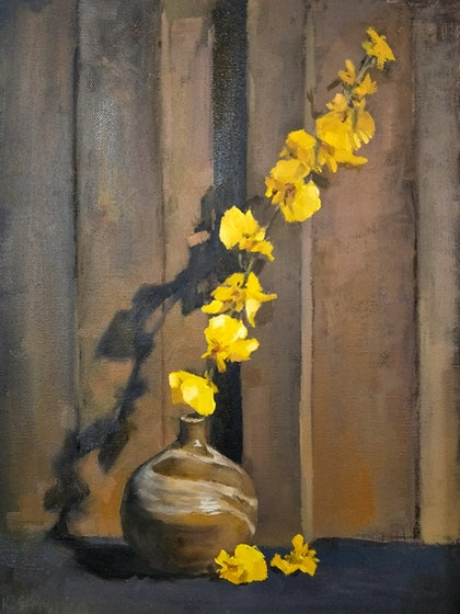 (CreativeWork) Yellow Orchid by Ekaterina Strounina. oil-painting. Shop online at Bluethumb.