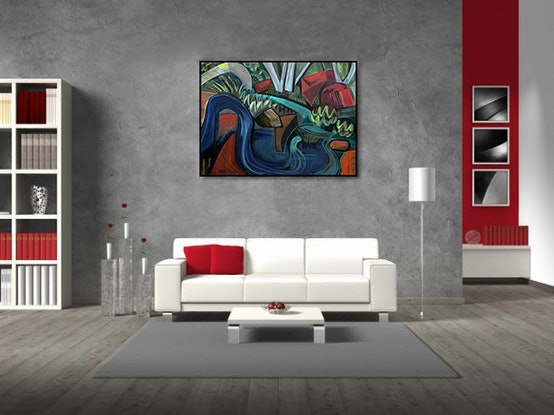 (CreativeWork) The Pool of Midnight by _ Tillian _. Acrylic Paint. Shop online at Bluethumb.