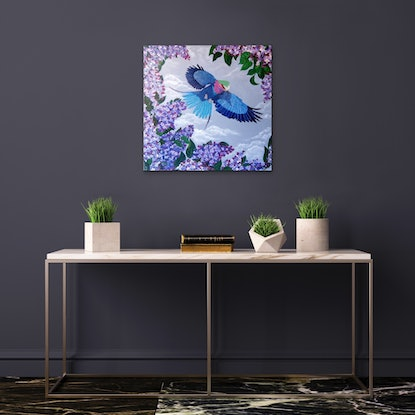(CreativeWork) LILAC BREASTED ROLLER by Lisa Dangerfield. Acrylic Paint. Shop online at Bluethumb.