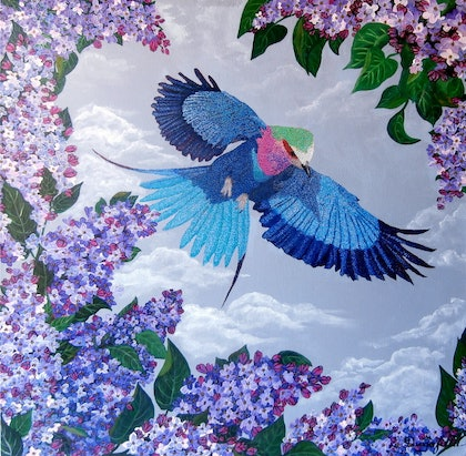 (CreativeWork) LILAC BREASTED ROLLER by Lisa Dangerfield. arcylic-painting. Shop online at Bluethumb.