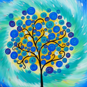 (CreativeWork) Crisp circle tree by Cathy Jacobs. arcylic-painting. Shop online at Bluethumb.
