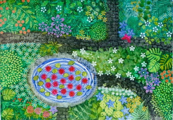 (CreativeWork) Meet Me By The Lily Pond ! by Veena Merchant. Watercolour Paint. Shop online at Bluethumb.