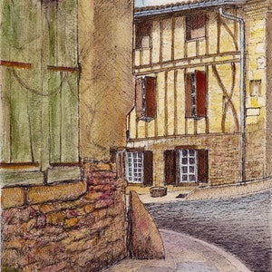 (CreativeWork) Rue de Puyvert, Sorèze, Midi-Pyrénées, France by Dai Wynn. watercolour. Shop online at Bluethumb.