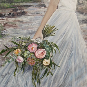 (CreativeWork) Messy Bouquet by Julie Schofield. arcylic-painting. Shop online at Bluethumb.