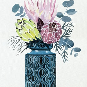 (CreativeWork) Protea Trio in West German Onion Vase by Sally Browne. watercolour. Shop online at Bluethumb.
