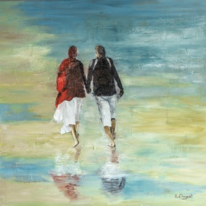 (CreativeWork) Together on Sunday by Rosa d'Argent. oil-painting. Shop online at Bluethumb.