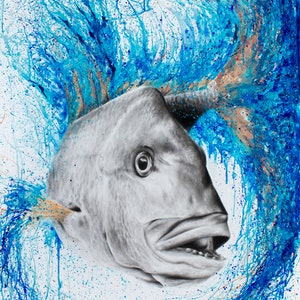(CreativeWork) Sir Snapper by Ashvin Harrison. arcylic-painting. Shop online at Bluethumb.