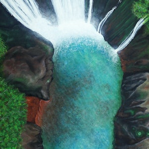 (CreativeWork) Into the Falls by Andrea Marriette. acrylic-painting. Shop online at Bluethumb.