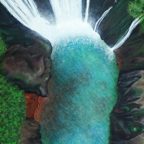 (CreativeWork) Into the Falls by Andrea Marriette. Acrylic Paint. Shop online at Bluethumb.