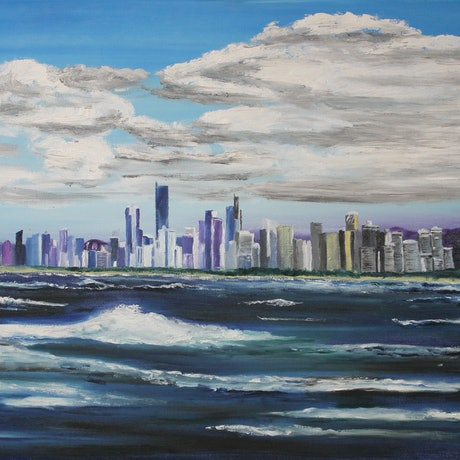 (CreativeWork) GOLD COAST FROM THE SEA by Ralph Coles. Oil Paint. Shop online at Bluethumb.