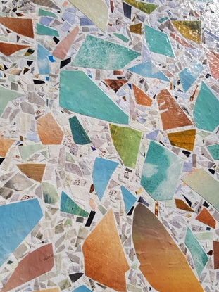 (CreativeWork) Terrazzo 2 by Keren Rubinstein. Mixed Media. Shop online at Bluethumb.