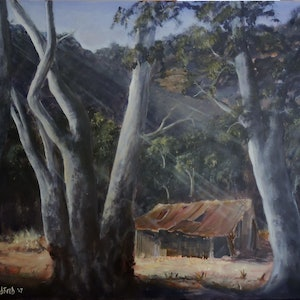 (CreativeWork) Megalong Mountain Retreat by Colin Hadfield. arcylic-painting. Shop online at Bluethumb.