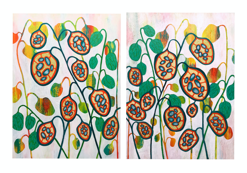 (CreativeWork) Seeds Of Life no. 1 and 2 Diptych (together they measure 92cm x 61cm) by Lisa Frances Judd. arcylic-painting. Shop online at Bluethumb.