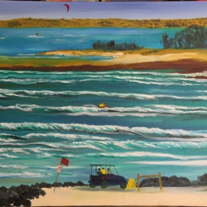 (CreativeWork) ELLIOTT HEADS SURF BEACH by Ralph Coles. oil-painting. Shop online at Bluethumb.