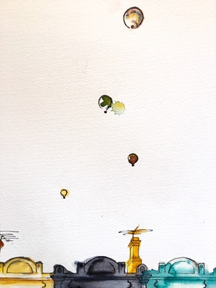 (CreativeWork) Brunswick street balloons by Bec Grant. Watercolour Paint. Shop online at Bluethumb.