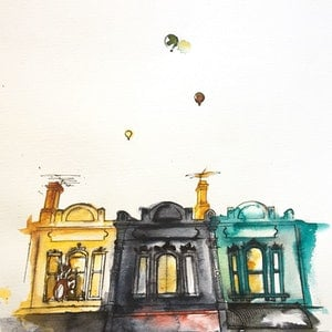 (CreativeWork) Brunswick street balloons by Bec Grant. watercolour. Shop online at Bluethumb.