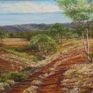 (CreativeWork) Pilbarra Track by Henry Wood. oil-painting. Shop online at Bluethumb.