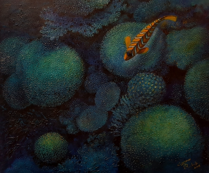 (CreativeWork) Regal angelfish by Eugene Rubuls. oil-painting. Shop online at Bluethumb.