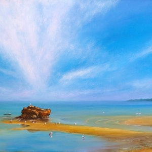(CreativeWork) Mentone Beach by Sergei Londar. oil-painting. Shop online at Bluethumb.
