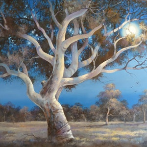 (CreativeWork) Moonglow by Marion Schumacher. oil-painting. Shop online at Bluethumb.