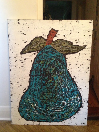 (CreativeWork) BLUE PEAR by Torie BEGG. arcylic-painting. Shop online at Bluethumb.
