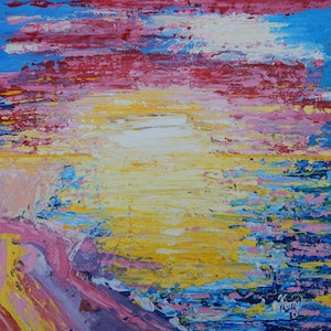 (CreativeWork) Fleurieu Sunset by Kerry T. arcylic-painting. Shop online at Bluethumb.