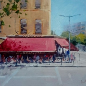 (CreativeWork) The red awning - Lyon, France. by Vivi Palegeorge. oil-painting. Shop online at Bluethumb.