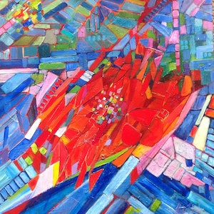 (CreativeWork) DOWN TOWN by Helen Tainsh. arcylic-painting. Shop online at Bluethumb.