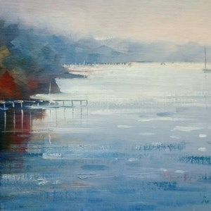 (CreativeWork) Morning light - Beaumaris Bay. by Vivi Palegeorge. oil-painting. Shop online at Bluethumb.