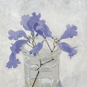 (CreativeWork) Still life - Jacaranda in a jam jar by Jac Reynolds. arcylic-painting. Shop online at Bluethumb.