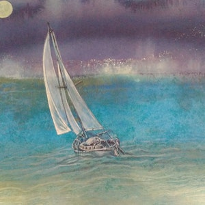 (CreativeWork) Moonlight Sail by Marty Foster. mixed-media. Shop online at Bluethumb.